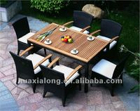 Outdoor Restaurant Synthetic Rattan Six seater dining set with Wood Furniture