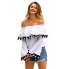 Spring sexy women's blouses with ruffled tassel and horn long sleeve, off shoulder lady blouse & top