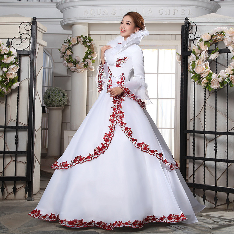 Winter Red And White Wedding Dresses 71