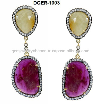 Royal Exotic Look 14k Gold Ruby Earrings, Handmade Earring 2017 Collection for Women and Girls Jewellery