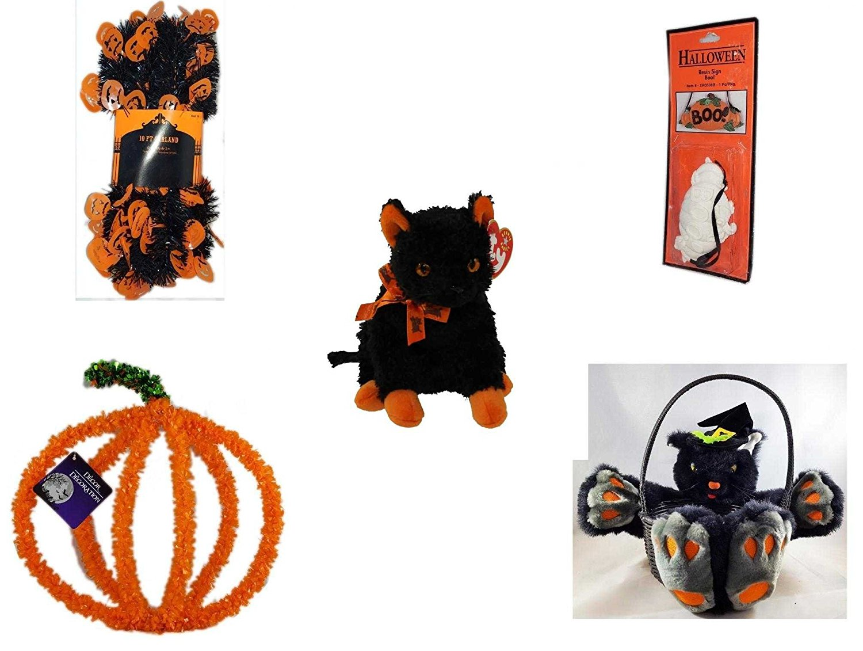 "Halloween Fun Gift Bundle [5 piece] - Halloween Black & Orange Pumpkin Garland 10 ft. - Halloween Resin ""Boo."" Sign - Ty Beanie Baby""Fraidy"" The Black & Orange Cat - Halloween Pumpkin Plastic on Wir"