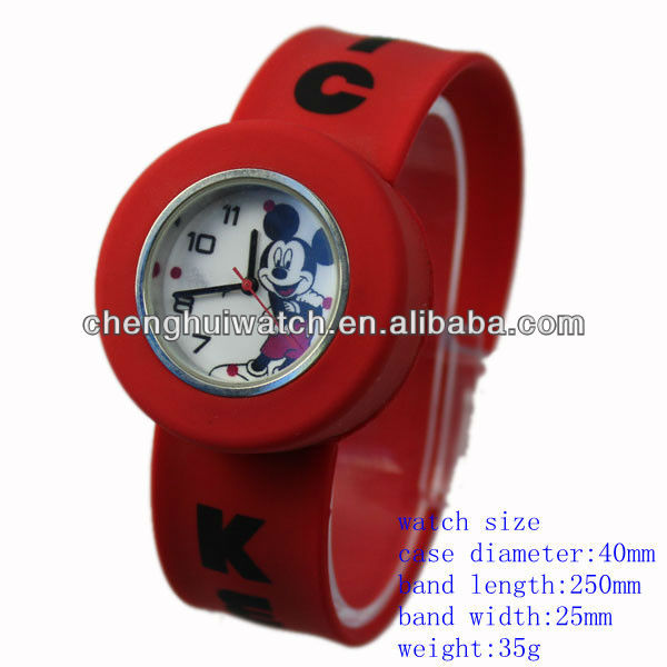 cute children 3-colors silicone Cartoon Slap Watch for promotion