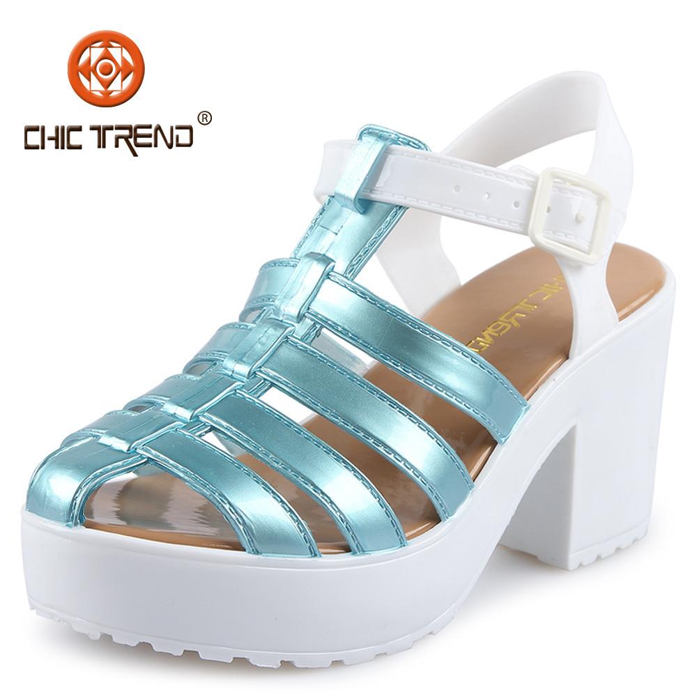 European sandals shoes - 2015 Summer Womens Shoes European Style Melissa Shoes Pvc Jelly Sandals Thick Heel Sandals Plastic Women Sandals Ladies Shoes Buy Ladies High Heel Shoes