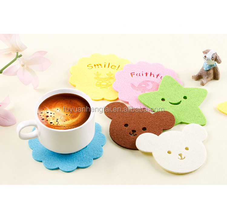 2017 star and cute bear pattern felt cup coasters and felt cup mat