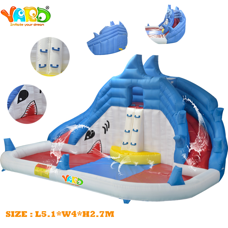 YARD New Item Residential Shark Inflatable Water Slide With Water Pool