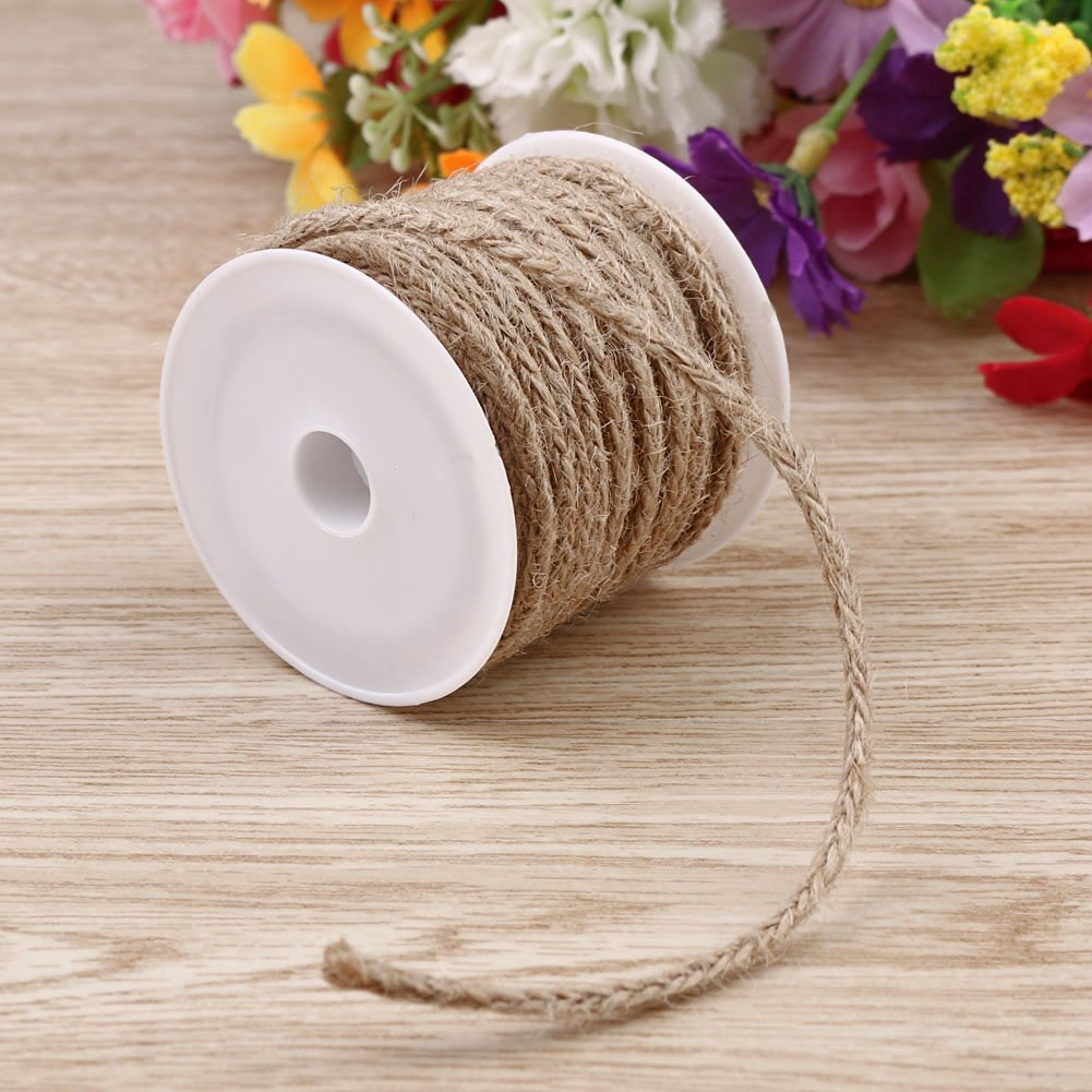 5M Natural Woven Burlap Rope Burlap Roll Ribbon DIY Craft Vintage Wedding Party Decor