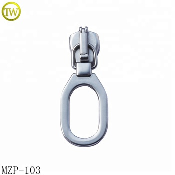 Highly polished blank metal zipper puller garment locking slider pull tab