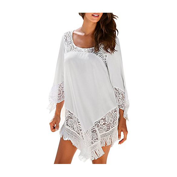 Jevole Beach Coverups for Women Bikini <strong>Swimwear</strong> Cover Up <strong>Quickly</strong> <strong>Dry</strong> Oversize Lace Swimsuit Summer <strong>Beachwear</strong> White