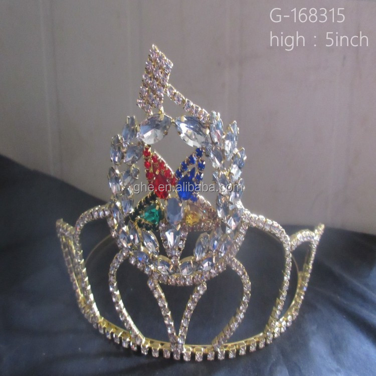 Wholesale new festival five color rhinestone star custom king crown