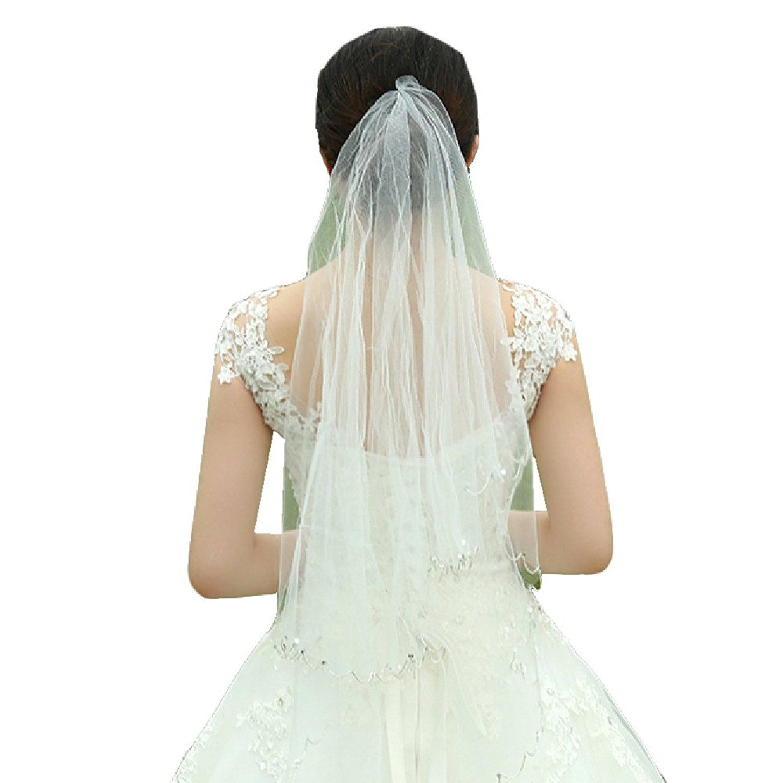 Women's White 2 Tiers Tulle Wedding Veil Bead Edge Long Bridal Veil