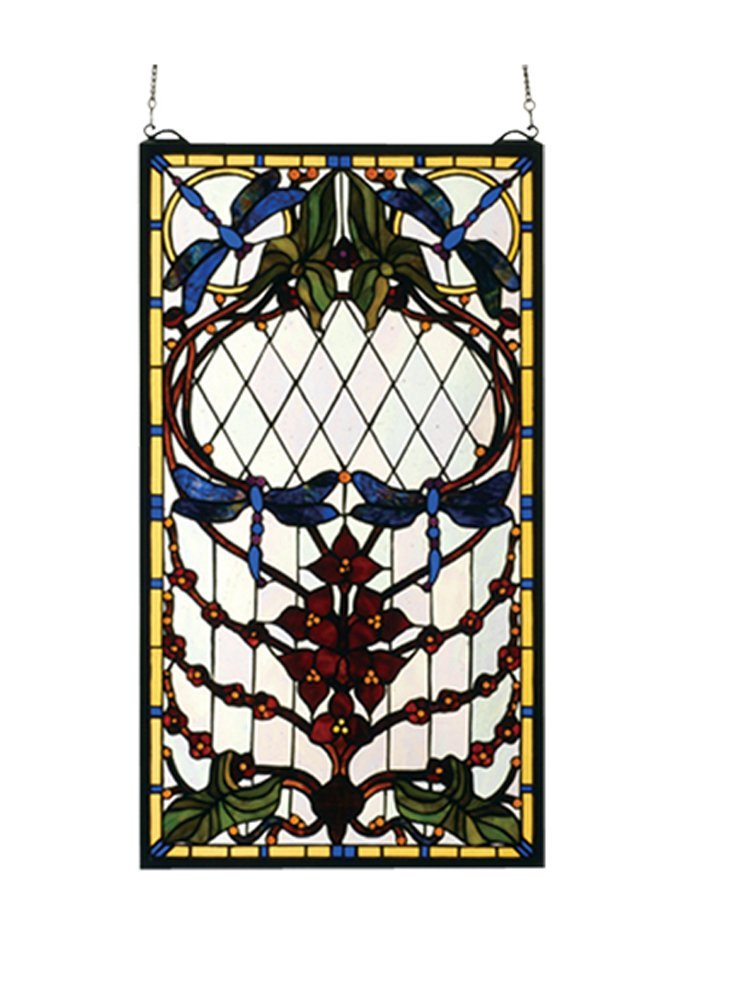 "Meyda Hand Crafted Designed Art Decorative Panel 14""W X 25""H Dragonfly Allure Stained Glass Window"