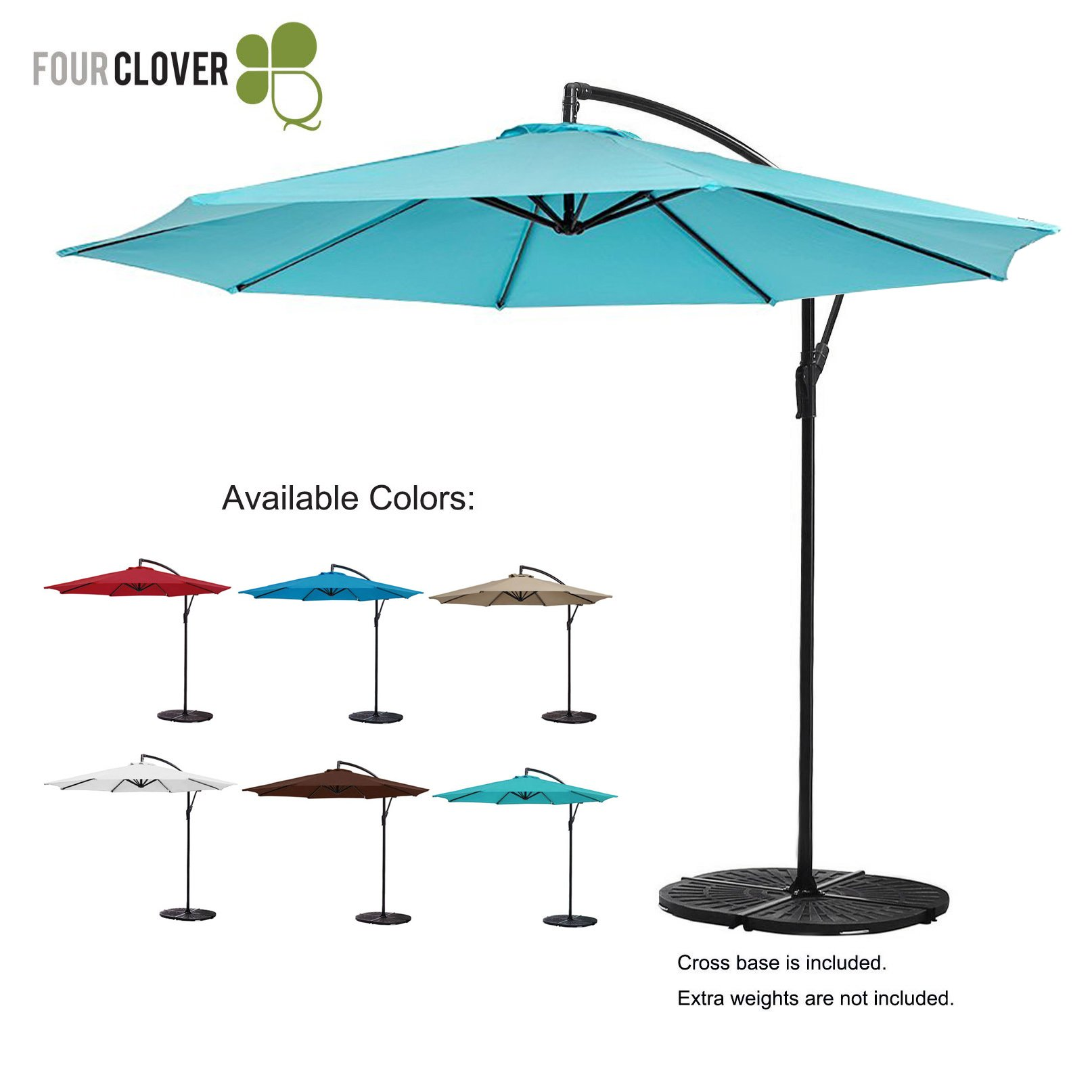 FOUR CLOVER 10 Ft Patio Umbrella Offset Hanging Umbrella Outdoor Market Umbrella Garden Umbrella, 250g/sqm Polyester, with Cross Base and Crank (Turquoise)