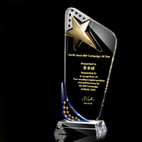 New design China wholesale OEM custom golden star shape K9 glass trophy angel crystal trophy award business souvenir gift