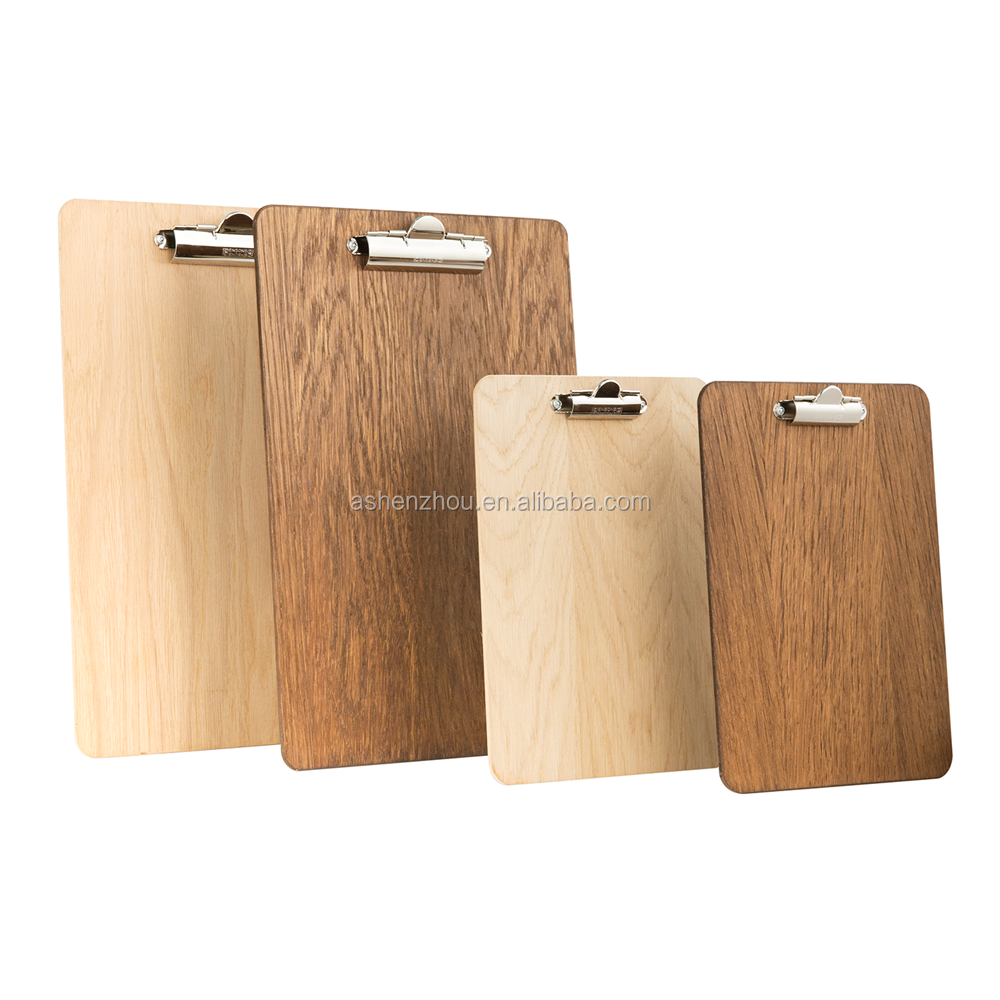 Promotional cheap custom design natural color A5 wooden clip board with flat clip A4 MDF clipboard