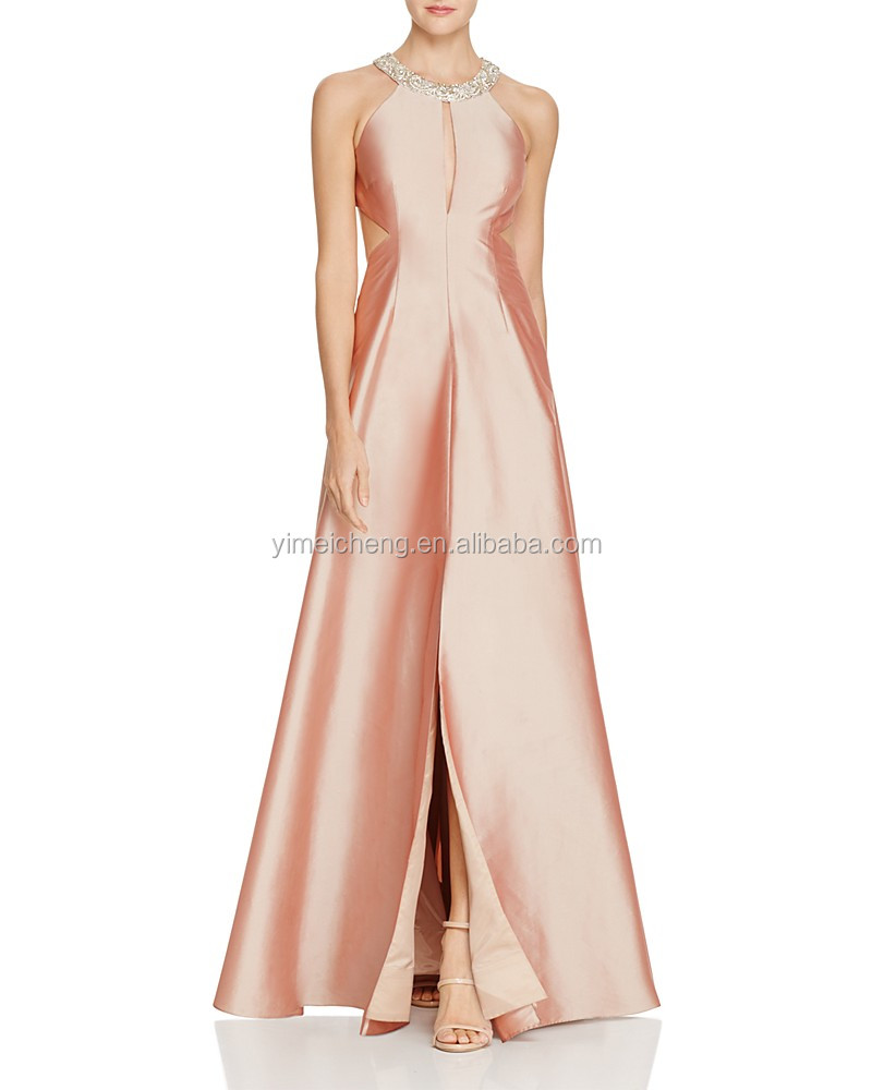 Pink new fashion women long prom gown elegant lady one piece evening dress