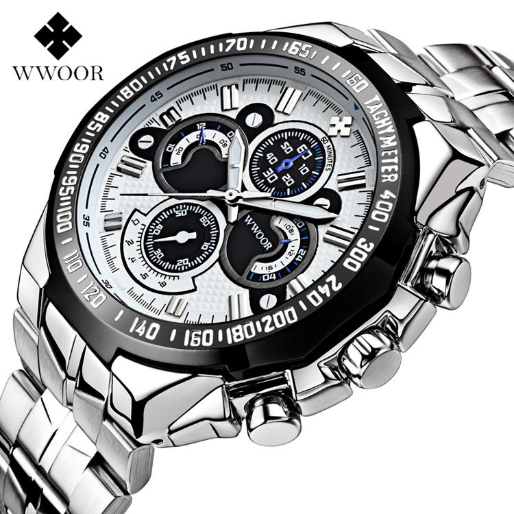 cfe4d9cd284 WWOOR 8013 Relógios Cinta de Aço Inoxidável À Prova D  Água Esportes Dos Homens  Marca