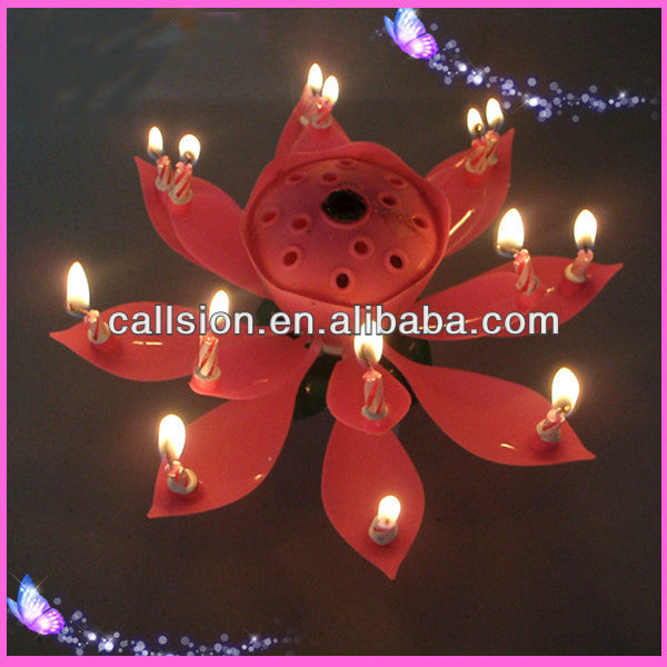 wholesale plastic follower Rotating flower birthday Candle
