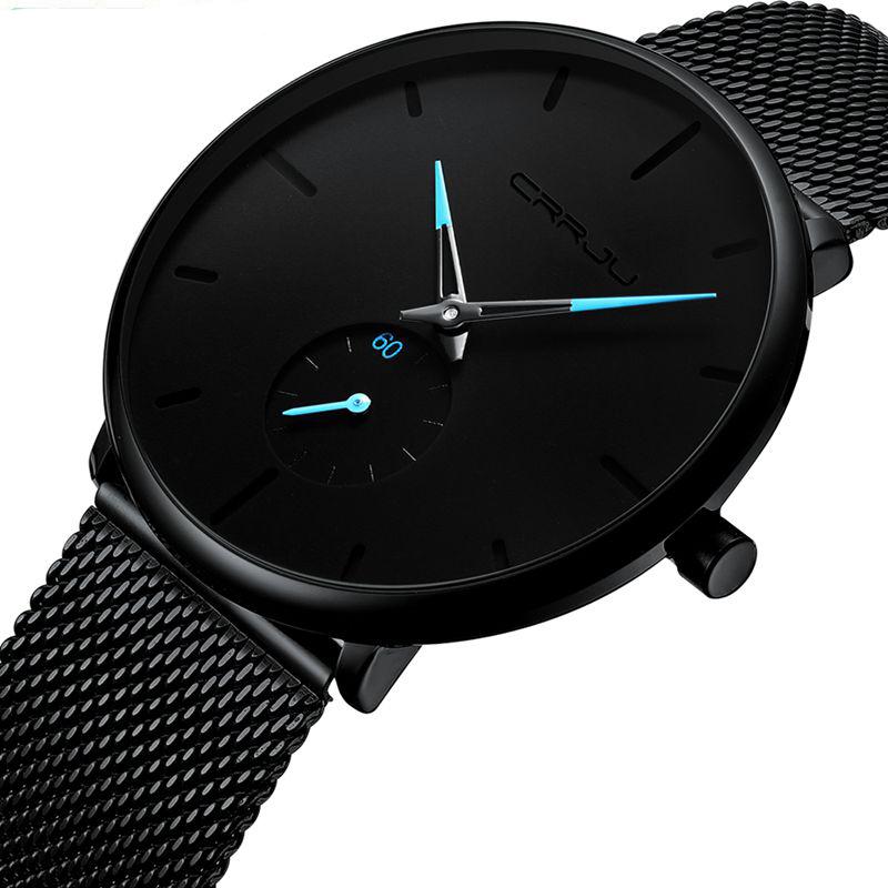 CRRJU Fashion Top Brand Mens Watch Luxury Quartz Watch Men Casual Slim Mesh Steel Waterproof Sport Watch Relogio Masculino 2150 фото