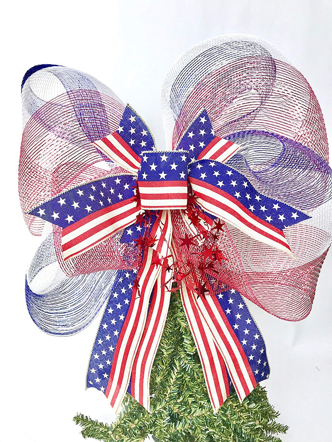 Wreath Bow, Red White Blue Mesh Handmade Large Gift Bow, Office Decorating, Wreath Bows, Holiday Bow, Home Decor, Swag Bow, Door Decor - Handmade Bow
