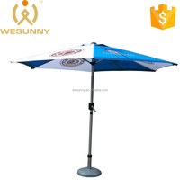 Logo Printed Sun Protect Outdoor Aluminum Patio Umbrella With Crank And Tilt