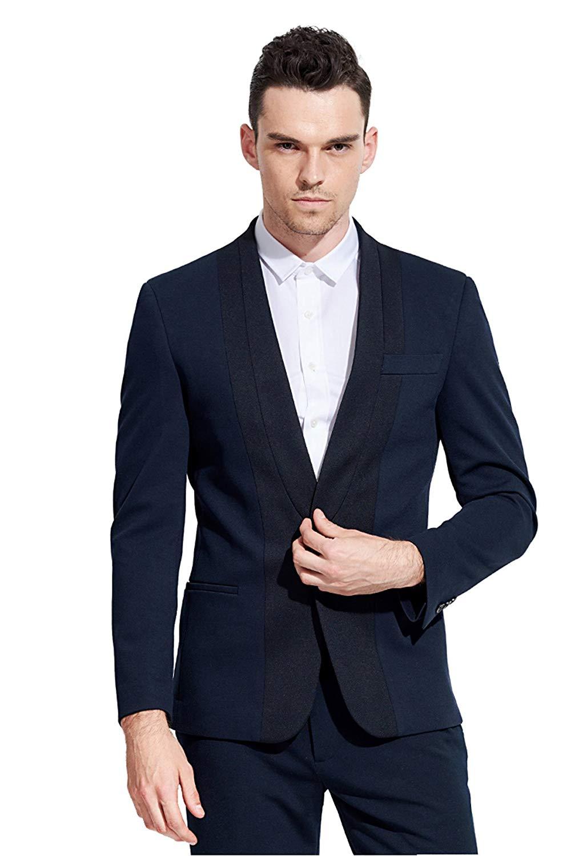 Iyan Mens Suits One Button Slim Fit 2 Piece, Best Man Suit Set