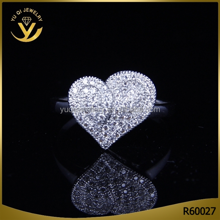 Pave Setting Micro diamonds Heart Shaped Design Themed Wedding Ring