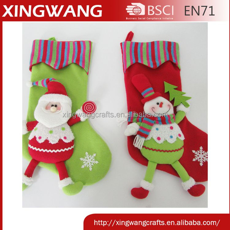 Hot item 20inch christmas stocking with santa and snowman stuffed pattern