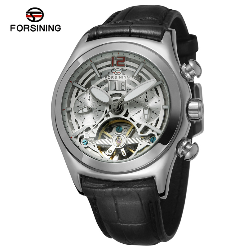 Forsining Brand Automatic Men Wristwatch Sport Vintage Leather Week Month Calendar Analog Clock Luxury Skeleton Mechanical Watch фото