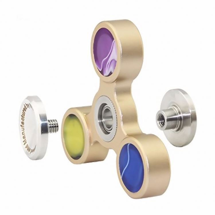 Shenzhen factory colorful bearing six axis ispin metal fidget spinner with metal case