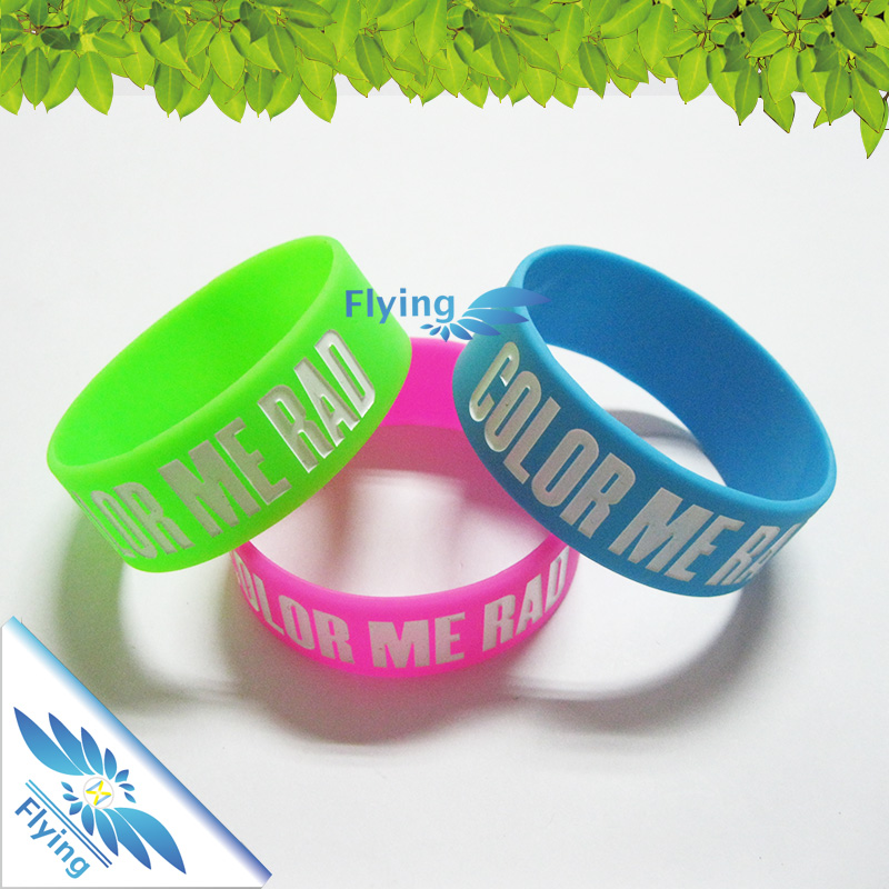 Sport printing color bracelet / custom saying silicone wristband