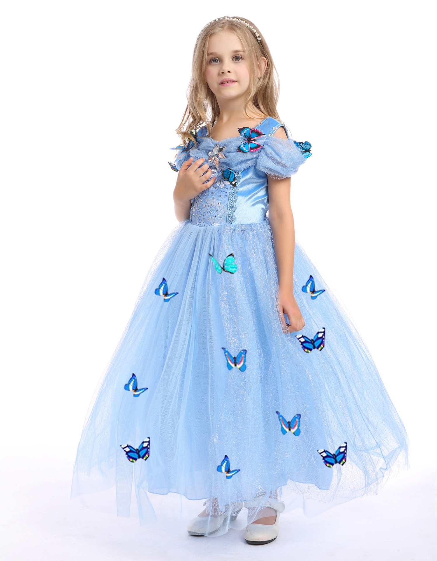 a01873f96bc blue halloween costume for kids princess little christmas gifts for  children girls cinderella dress costumes clothing baby girl