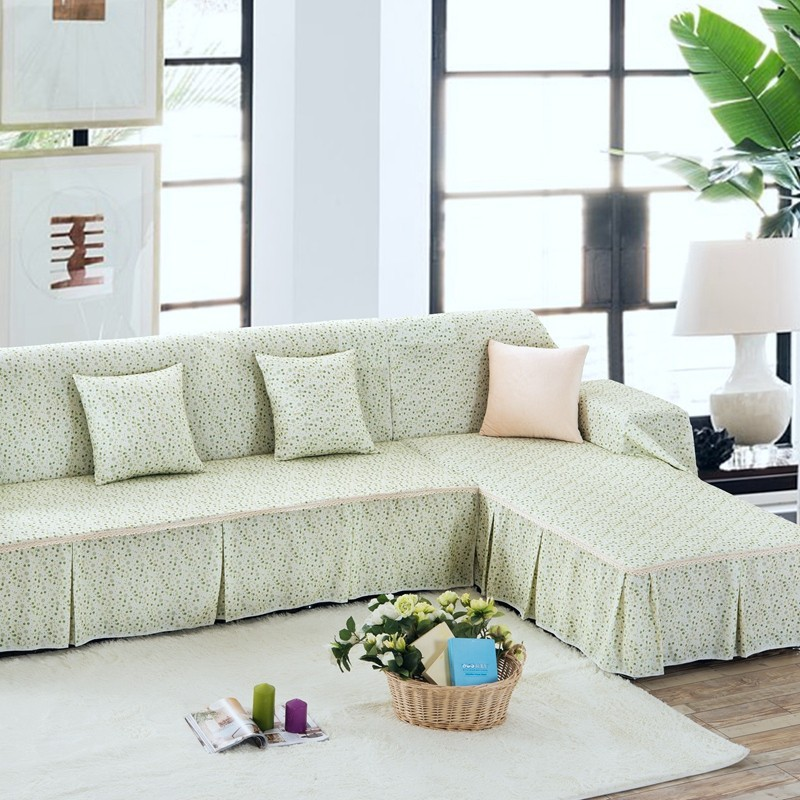 UNIKEA Pastoral Green Floral Sectional Sofa Cover For L Shaped Sofa  Slipcover Couch Cover Furniture Protector