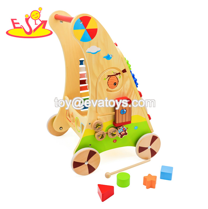 2019 New arrival educational wooden baby activity walker for preschoolers W16E034