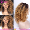 Man made kinky curl human hair wig blonde middle part lace front wig cheap blonde wig
