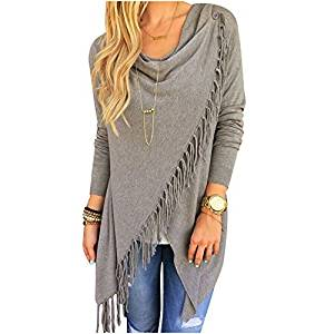 Womens Sweater - TOOGOO(R)Womens Capes And Ponchoes Oversized Sweater With Tassel Turtleneck Sweater (Gray,S)