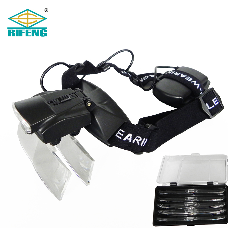 2LED Headband Illuminating Binocular Loupes Magnifier Lens Hands Free Magnifying Glasses with Interchangeable Lens