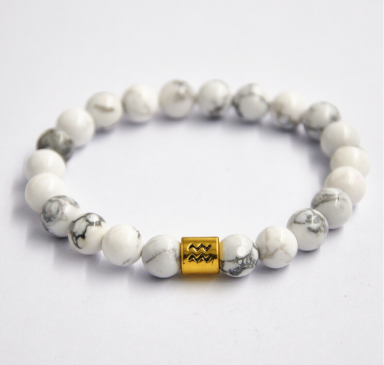 Stretchable White Turquoise Beads Bracelet Zodiac Charm Bracelet Wholesale