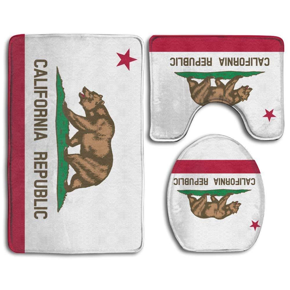 California Republic Bear Non-Slip Toilet Rug Sets 3 Pcs Bathroom Mats Rug Lid Toilet Cover
