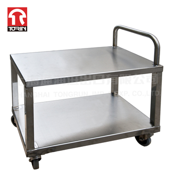 TORIN DZ27 Hot Sale 4 Wheels Two Layer Stainless Steel Trolley For Kitchen
