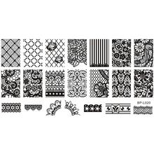 Rendas Padrão de Flor Nail Art Stamp Template Imagem Placa NASCIDO BONITA BP-L020 12.5×6.5 cm