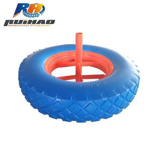 Wheel Barrow Natural Rubber PU Wheel 3.50-8 For Export Sale