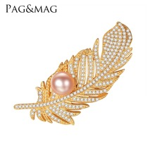 PAG&MAG New Fashion Luxury18k Gold Plated Freshwater Pearl Sterling Silver CZ Feather Brooches