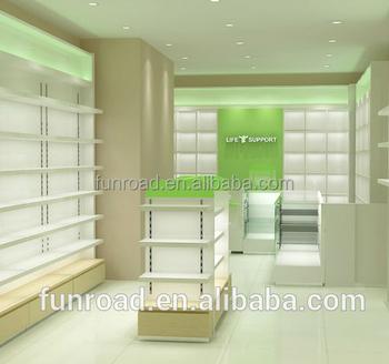 fb7c8bd3a Fornecedor chinês design de móveis loja de farmácia com prateleira de vidro loja  de contador de