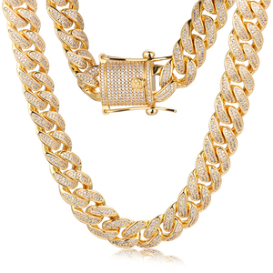 b6ae87b3868cf Mens 18k Gold Plated Hip Hop CZ Necklace Diamond Cuban Chain Choker