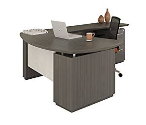 """Mayline 66""""W L-Shaped Desk 66""""W X 78""""D X 29.5""""H (Return Side 78"""" - Overall Depth 84"""") Comes With 2 Pedestals One Box/Box/File One File/File - Textured Driftwood - Right Return (Shown)"""