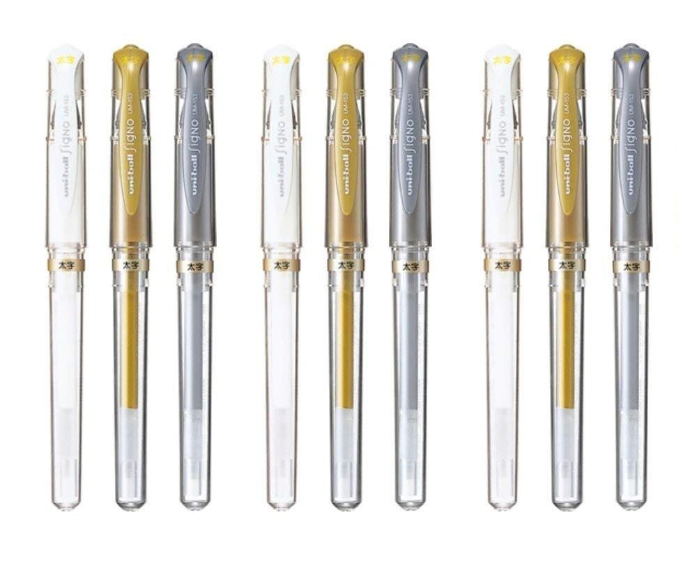 Uni-Ball Signo UM-153 Broad Point Gel Impact Pen, 1.0mm, White / Gold / Silver, 3 pens each / Total 9 pens (Japan Import)