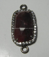Gorgeous Sapphire Black Rhodium Plated Sterling Silver Setting With Cz-- Sapphire Double Bail Connector Pendant