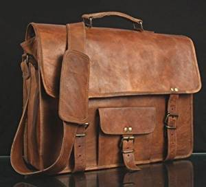 Leather Unisex 100% Genuine Real Leather Messenger Bag for Laptop Briefcase Satchel ...