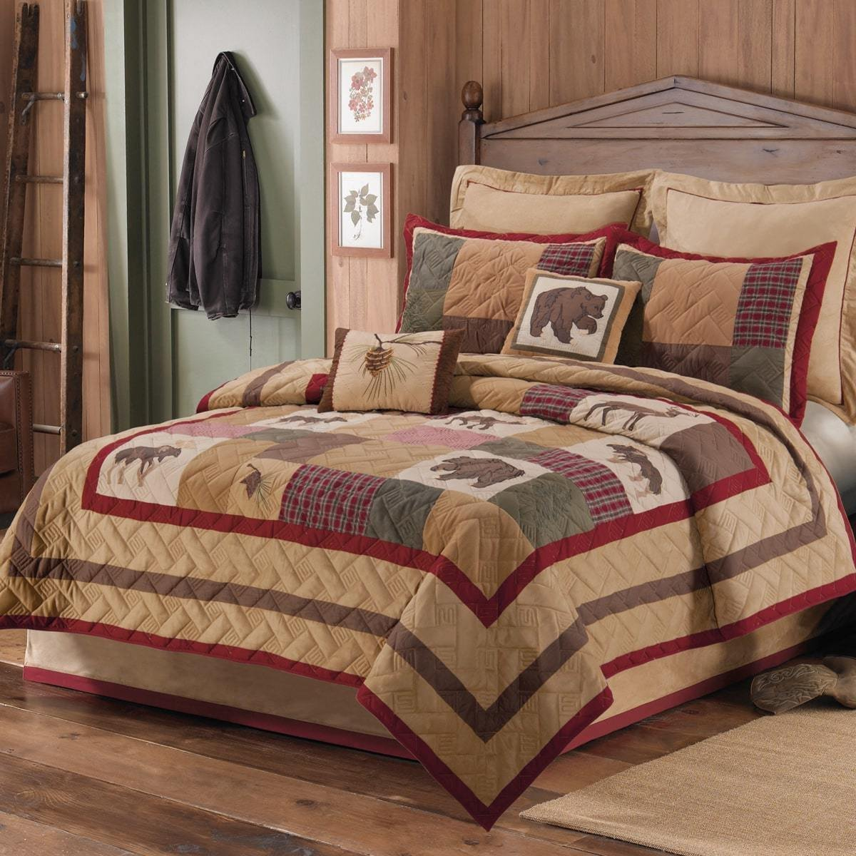 OVS 1 Piece Beautiful Brown Red Green Tan Twin Quilt, Rustic Lodge Wildlife Plaid Patchwork Themed Bedding Animal Moose Deer Bear Cabin Cottage Nature Forest Country Western Pine Cone Casual, Cotton