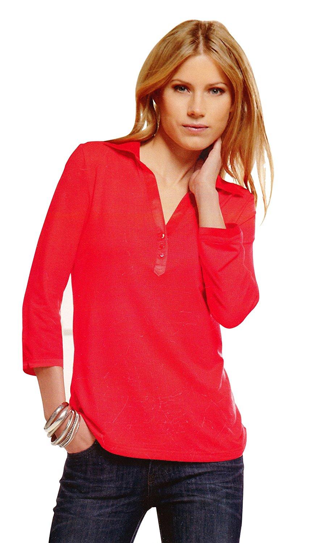 Ladies Viscose Lycra Long Sleeve Polo Shirt With Satin Collar (Tangerine)